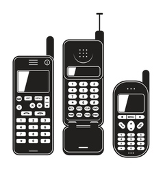 Old mobile phone set Black and white vector image vector image