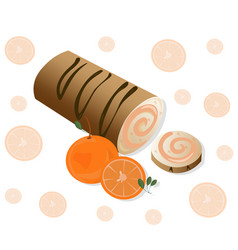 Roll cakes with orange fruits sweets vector