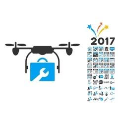 Service drone icon with 2017 year bonus symbols vector