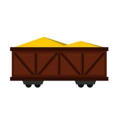 Train cargo wagon icon flat style vector