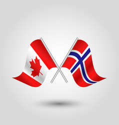 Two crossed canadian and norwegian flags on vector