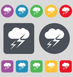 Weather icon sign a set of 12 colored buttons flat vector
