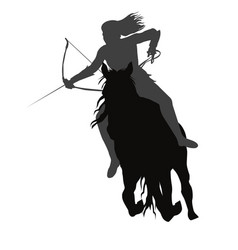 wild amazon girl with a bow on horseback vector image