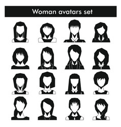woman avatars set in black simple style vector image