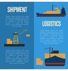 Shipment and logistics banner set with cargo ship vector