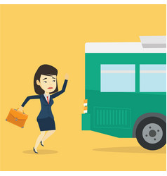 Latecomer woman running for the bus vector