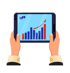 Tablet in mans hands growing graph icon modern vector