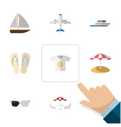 Flat icon beach set of aircraft spectacles vector