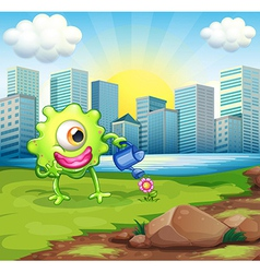 A monster watering the plant at the riverbank vector
