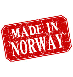 Made in norway red square grunge stamp vector
