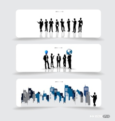 Business people silhouettes on note papers vector