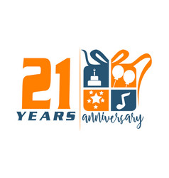 21 year gift box ribbon anniversary vector