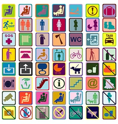 Colored signs icons used in transportation means vector
