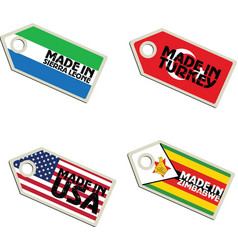 label Made in Sierra Leone Turkey USA Zimbabwe vector image