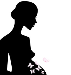 Pregnant woman feeling butterflies in her belly vector