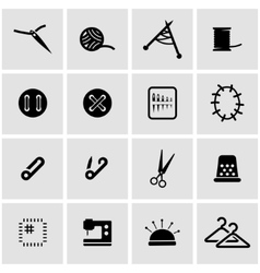Black sewing icon set vector