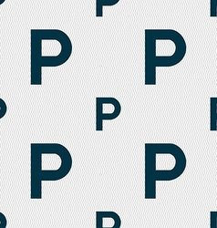 Parking icon sign seamless pattern with geometric vector