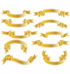 Gold ribbons set vector