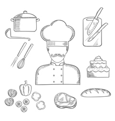 Cook or baker profession hand drawn elements vector image