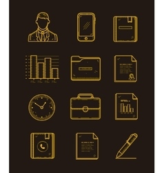 Modern office and business icons set on the dark vector