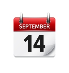September 14 flat daily calendar icon vector