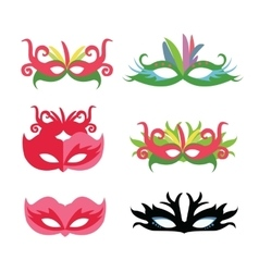 Flat face mask set carnival party vector