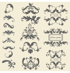 Set monograms floral ornaments baroque style vector