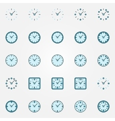 Clock blue icons set vector image