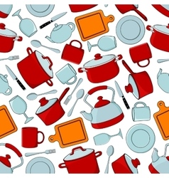 Seamless cooking utensils and tableware pattern vector