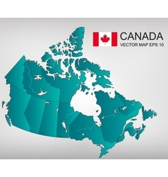 Canada map with provinces all territories are vector