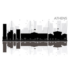 athens city skyline black and white silhouette vector image vector image