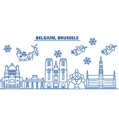 belgium brussels winter city skyline merry vector image