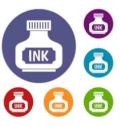 Black ink bottle icons set vector