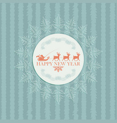christmas card with santa claus on deer vector image vector image