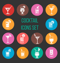 colorful cocktail icons set vector image vector image