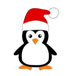 cute cartoon penguin on white background vector image
