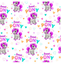 cute seamless pattern with funny cartoon pony vector image vector image