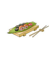 flat sushi with sticks vector image