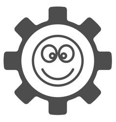Gear happy smile flat icon vector