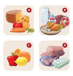 Healthy products containing vitamins vector image