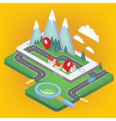 Mobile navigation isometric concept smart phone vector