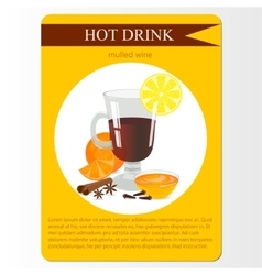 Mulled wine cocktail menu item or sticker vector