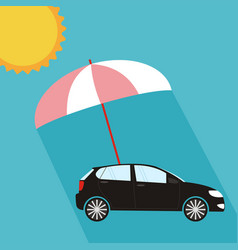 Pink umbrella protecting car against sun flat vector