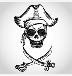Pirate skull with hat and crossed swords vector