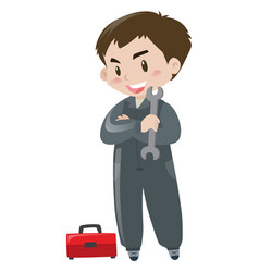 Repairman with red toolbox vector