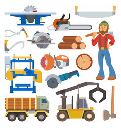 Sawmill woodcutter character logging equipment vector