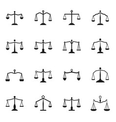 scales icons balance antique libra set for vector image