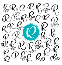 set letter r hand drawn flourish vector image vector image