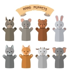 set of hand puppets in flat style Doll vector image vector image