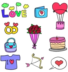 Set of love doodles design vector image
